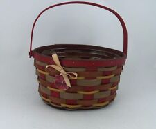 Longaberger 2011 Crimson Hill Oval Red Basket w Protector To Rare