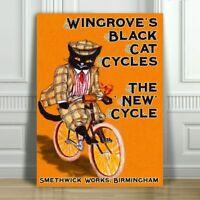 "VINTAGE BICYCLE AD CANVAS ART PRINT POSTER - Wingrove's Black Cat - 32x24"""