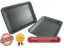 500 x D2 Black Polystyrene Meat / Food Chippy Trays 178 X 133 X 25MM