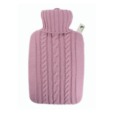 1.8 Litre Pastel Pink Luxury Knitted Cover Rubberless Hot Water Bottle