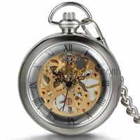 Transparent Cover Hand-winding Mechanical Skeleton Roman Numberals Pocket Watch