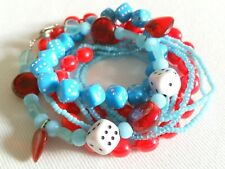 7 Accessorize & Alicelle Bracelets & Red Necklace, Beads, Dice, Hearts