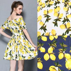 cotton fabric  Lemon Printed Poplin for women children clothing Fabric BY YARD