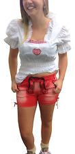 Trachtenjeans Trachtenhosen Damenhosen Jeanshosen Lederhosenoptik Shorts Rot L