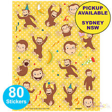 CURIOUS GEORGE BIRTHDAY PARTY SUPPLIES 80 STICKERS LOOT FAVOURS GAME PRIZES