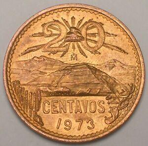1973 Mexico Mexican 20 Centavos Sun Pyramid Coin XF+