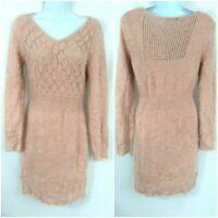 Venus Women's Fuzzy Long Sleeve Knit Sweater Dress Size S Pink Blush Bodycon