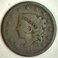 1838 Liberty Head Matron Cornet Head Large Cent US Coin Good 1c