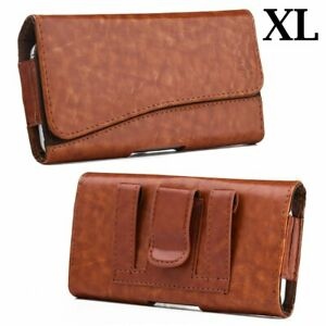 """iPhone 13 Pro Max (6.7"""") Brown Glossy Leather Belt Clip Pouch Holster Case Cover"""