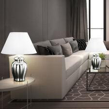 2 x Design Nacht-Tisch Lampe Weiß Textil Chrom Stoff Wohn-Zimmer Lese Leuchte