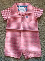 NWT Infant Boy's Red Check Short Sleeve Romper 6 Months