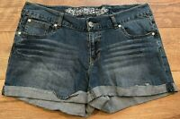EXPRESS Distressed Stretch Mid Rise Rolled Denim Jean Bootie Shorts womens 12