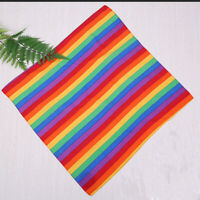 4Pcs Cotton Outdoor Stripe Rainbow Scarf Square Sports Colour Striped Headscarf
