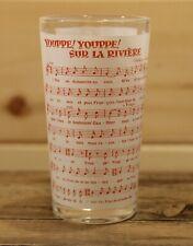 "Vintage Youppe! Sur La Riviere Song Lyrics Bar Drinking Glass Tumbler 5"" Tall"