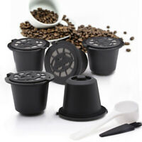 5/Pcs Stainless Steel Filter Reusable Coffee Capsules Pods & Spoon For Nespresso