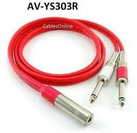 """3ft Ultra Flex 1/4"""" TRS Stereo Female Jack to Dual 1/4"""" TS Mono Plug Red Cable"""