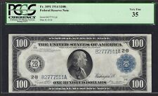 1914 $100 FRN FR-1091 ♚♚NEW YORK♚♚ PMG CH VF 35   BOLD COLOR!!!