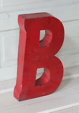 "20"" Industrial Rustic Block Letter B Sign, Red, Recycled Metal Letter"