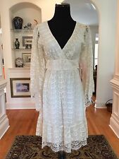 BETSEY JOHNSON Empire Waist Back Tie Bell Sleeve Ivory/Gold Lace Dress Sz 4 $168