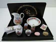 More details for dolls house reutter miniature 1:12th scale dresden rose bathroom accessories (j)