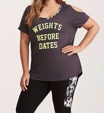 Set Torrid Active - Weights Cold Shoulder Tee & Leggings Gray 4X 26 4 #16037