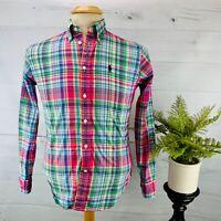 Ralph Lauren Mens Long Sleeve Button Down Shirt Pink Green Blue Plaid Size S