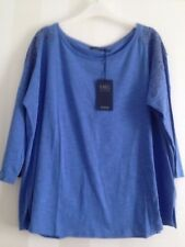 Size 22 M&S Collection Beautiful Cotton Rich Cornflower Top with Embroidery BNWT