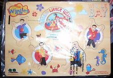 THE WIGGLES WIGGLE BAY  WOODEN JIGSAW WITH BUTTONS ~6 PIECES~EASY SOLVE~VGC