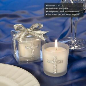 20-96 Silver Cross Candles - Religious Baptism Wedding Favors