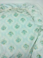 Vintage Tastemaker Double Fitted Sheet Full Blue Floral Flowers 60s 70s