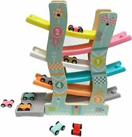 6 Layers Click Clack Racetrack Wooden Children Car Slider Race Track Toy 8 Cars