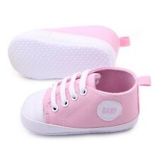 0-3Month Pink Toddler Infant Baby Boy Girl Canvas Sneakers Soft Sole Crib Shoes