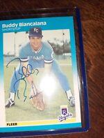 1987 Fleer #364 Buddy Biancalana KANSAS CITY ROYALS AUTOGRAPH CARD