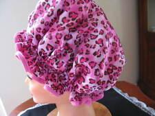 SHOWER CAP HAT   HANDMADE, WATERPROOF hot pink leopard satin