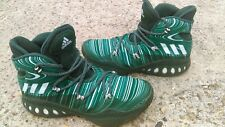 Adidas Geofit Basketball Shoes Green White Striped High Top Euc or boys size 7.5