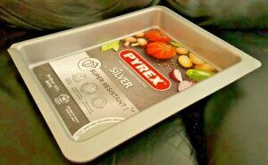 PYREX Silver Roasting Baking Deep Tin Tray Dish Oven Roast Non Stick 35x26x5.5cm