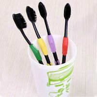 4Pcs Double Ultra Soft Nano Bamboo Charcoal Toothbrush Brush Oral Care E2U