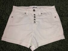 Almost Famous Women's super high rise button White Jean Shorts Size 3