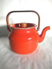 VINTAGE Burnt Orange Baked Enamel ware Tea Pot /Kettle Wood Handle