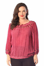 Plus Cotton Blend Casual Tops & Blouses for Women