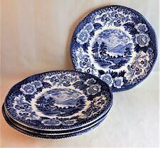 ROYAL WARWICK Blue LOCHS OF SCOTLAND SAUCER PLATES (Set of 4)  LOCH OICH
