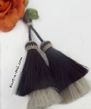 Horsehair tassel, black/ white, horsehair tassel, X- thick, purse jewelry Tassel