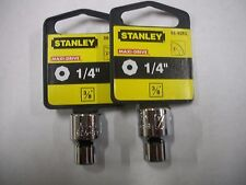 NEW STANLEY 3/8 in Drive  1/4 INCH  MAX DRIVE  8 POINT SOCKETS  TWO SOCKETS