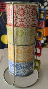 Pier 1 Imports Stackable Set Of 4 Coffee Cup Mugs and Holder Floral Hand Painted