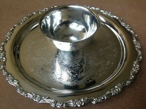 "Oneida Silverplate Snack Tray/Platter with Dip Bowl-12"" Diameter"