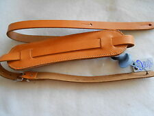 UK MADE TAN PADDED GENUINE LEATHER ELECTRIC/ACOUSTIC VINTAGE STYLE GUITAR STRAP