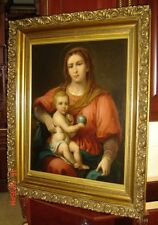 Antique German Anton Raphael Mengs Atrib. Madonna and Child Oil Painting Huge.