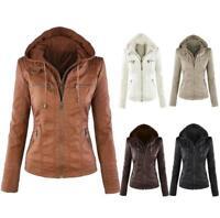 Womens Winter Warm PU Leather Biker Jacket Bomber Hooded Coat Overcoat Plus Size