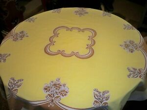 "Vintage Cotton Tablecloth retro yellow and brown pattern 48"" x 46"""