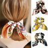 Chiffon bowknot silk hair scrunchies women pearl ponytail holder hair tie bands